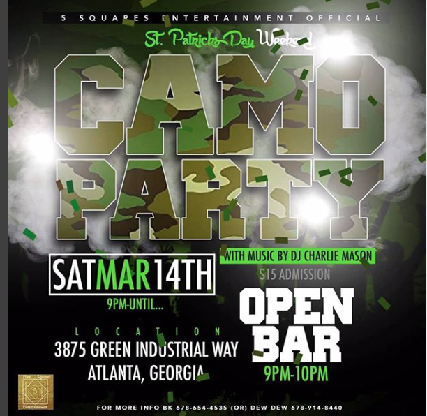 Camo Party St. Patrick Day Weekend Atlanta GA