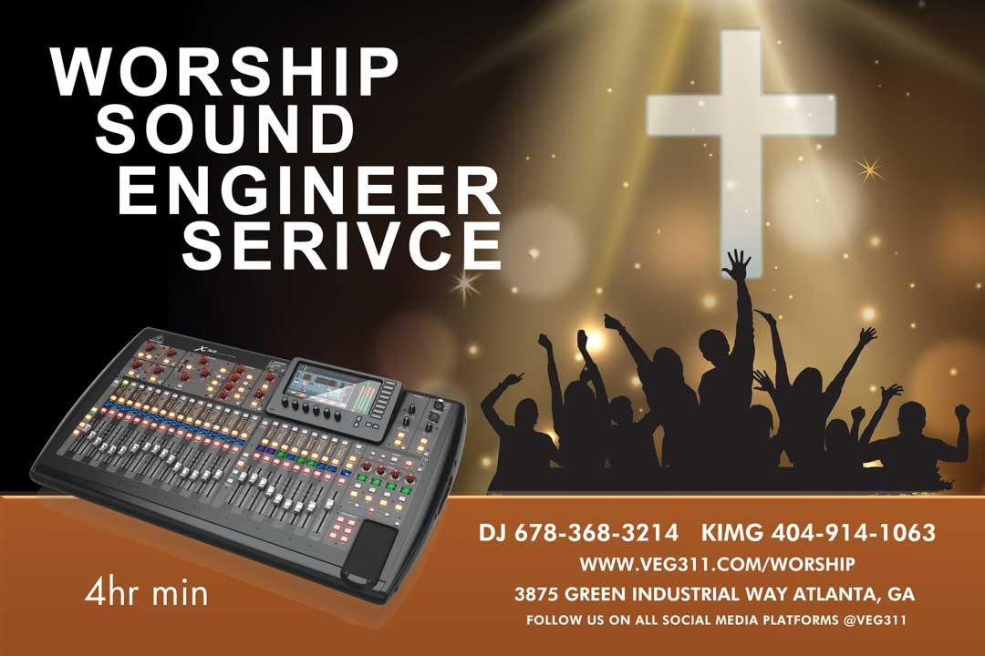 Atlanta Worship Sound Engineer for church Sunday mornings